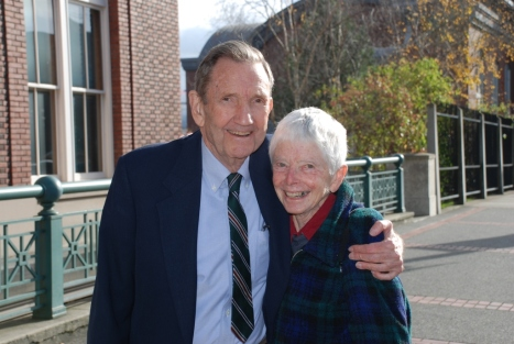 Ramsey Clark & Sr. Anne Montgomery at the courthouse in 2010